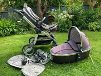 Babystyle egg buggy in storm grey with carry cot, rain cover, car seat adaptors etc