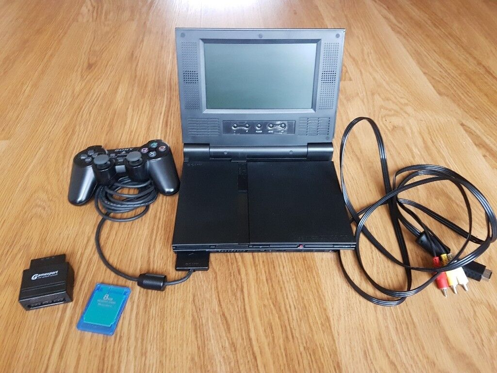 PlayStation (PS2) Slim with easy to add/remove flip up LCD monitor *RARE* + more