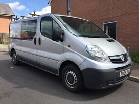 Vauxhall vivaro crew cab 6seater long mot very clean van