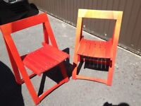Pair of solid wood folding deck/garden chairs, red