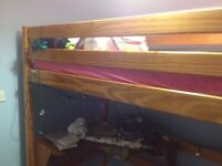 High Rise Bed, Quick Sell over weekend £20.00 Single bed without mattress. Pine wood