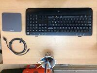 Desktop essentials; keyboard, touchpad, webcam, laptop stand