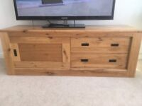Next solid oak tv unit and nest of side tables
