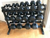 Hex dumbbells & rack
