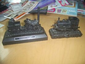 2 model trains made from coal one is stephenson`s rocket excellent condition