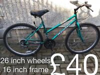 Ladies Mountain Bikes £40 - £80 mountain bike cycle commuter student mtb full working order