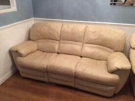 3 Seater Leather Recliner Sofa - Cream