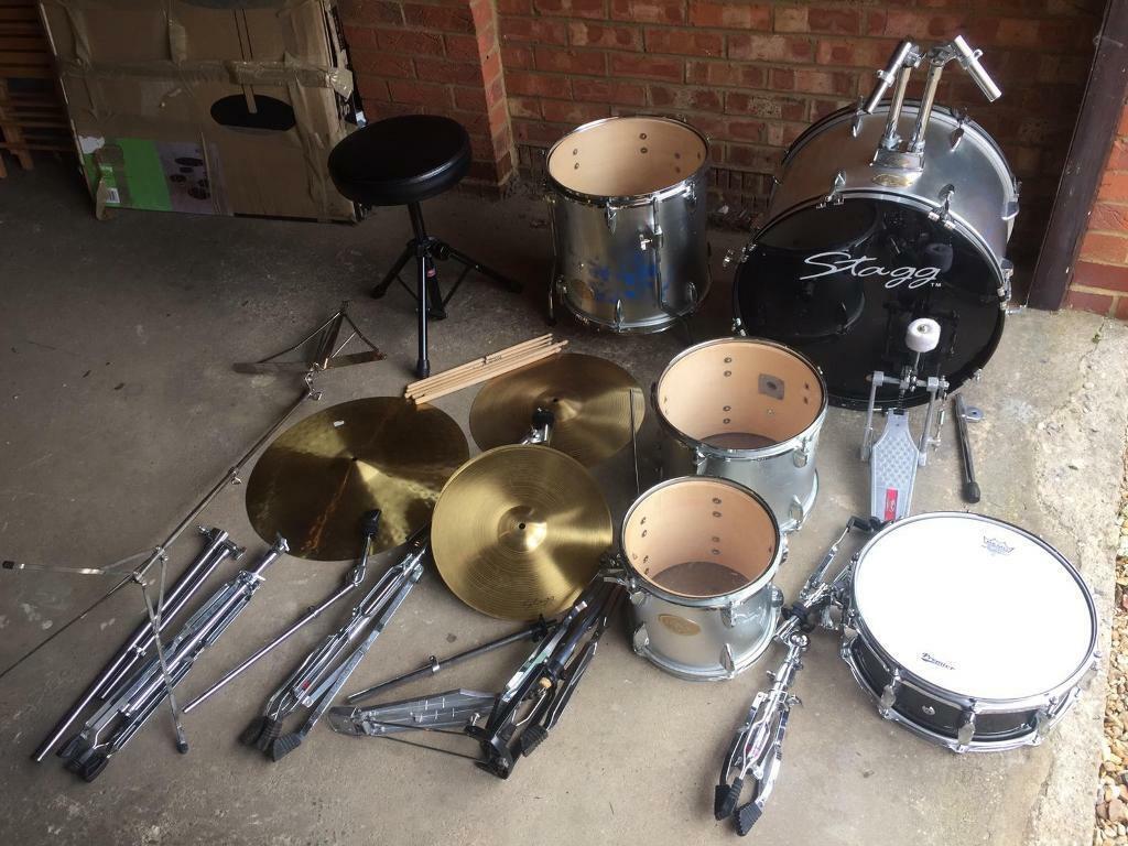 Silver Stagg Junior drum kit with Upgraded Black sparkly Premier snare  drum, music stand & sticks | in Cambridge, Cambridgeshire | Gumtree