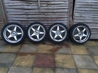 """18"""" x 7.5 Alloys with Hankook Tyres 4x114.3 and 4x100 ET 45 with Alloygators Fitted"""