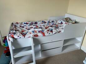 Children's Felix Low Sleeper bed and Stompa single mattress