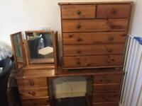Solid pine chest of drawers+dressing table and mirror