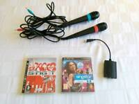 Two Singstar Microphones (one red, one blue) and USB Convertor for PS3