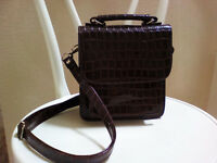 Vintage Brown Crocodile Pattern Handbag