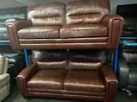 NEW - EX DISPLAY ScS Alice 3 + 3 SEATER BROWN LEATHER SOFAS 70% Off RRP