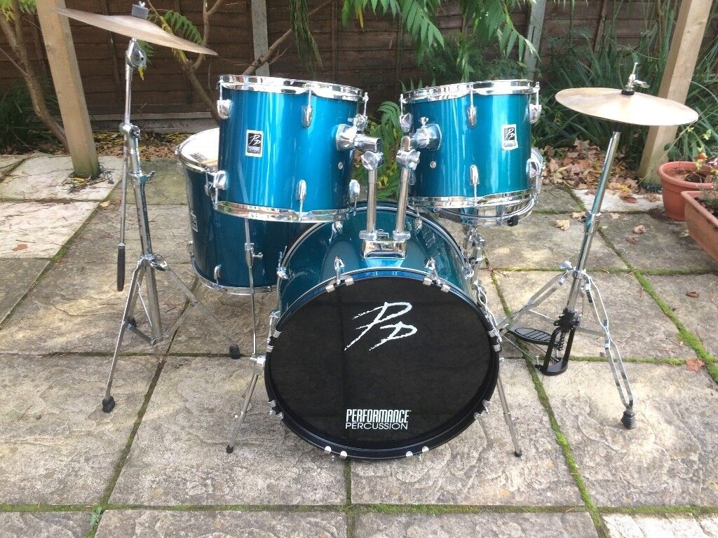 Wokingham Drum Sales - Beginners Drum Kit Complete - Blue Turquoise