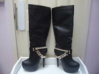 Womens Ladies Black Diamante High Heel Knee High Boots Size UK 4,5,6,7 New