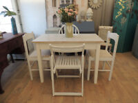 Mid century shabby chic Formica top kitchen table with 4 chairs