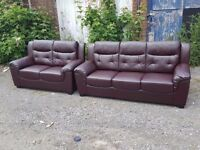 Stunning brown leather 3 and 2 seater sofas. 1 month old. clean and tidy. can deliver