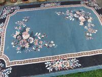 """Black and Teal rug 160 cms (63"""") x 227 cms (90"""")"""