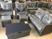 Brand New Top Quality 6 Seater Rattan Sofa Set With 2 Rattan Stools and Glass Top Table
