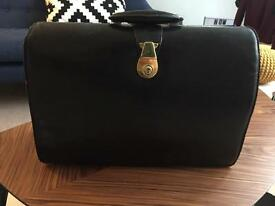 Vintage retro black leather doctors bag