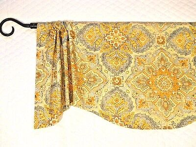 FALL COLORS VALANCE~teal~gold~brown~beige~rust~curtain~Windo
