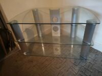 TV STAND CLEAR TEMPERED GLASS CURVED CORNERS 2 CABLE TIDIES