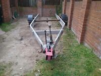 Caravan chassis trailer aluminium 19ft 8in long frame 4ft 6in wide frame only excludes tyres.