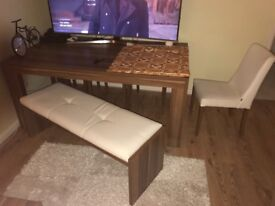 dining table 4x chairs 1x bench