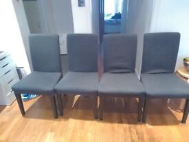 Set of four dining room chairs, Ikea Henriksdal dark grey with removable cover