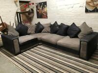 SUEDE + FABRIC CORNER SOFA EXCELLENT CONDITION
