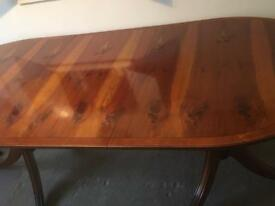 Yew dining table and 4 chairs
