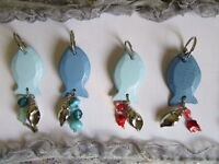 Handmade wooden fish keyrings with crystal mixed beads in 3 colours £5 each,gift,accessory
