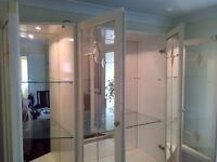 Imported Italian Glass dining room cabinet with internal light