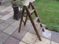 Small wooden folding step ladders
