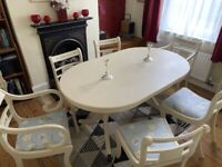 Shabby chic French style table and 6 chairs in Annie Sloan cream