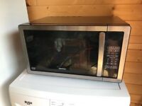 Kenwood microwave in black and silver