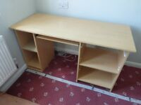 Office/Study double pedestal desk - Beech wood effect - Good condition - Bargain £15