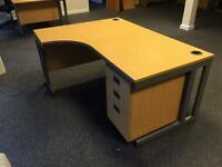 4 X Maple corner desks with drawers. 180cm wide Delivery.