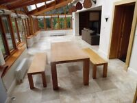 Pair of solid light oak benches