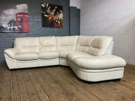 HARVEYS WHITE LEATHER CORNER SOFA IS VERY COMFY AND STYLISH