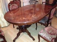 Dining table and chairs (6)- Excellent condition