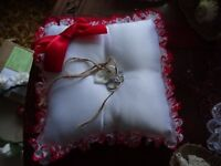 lovely red lace and white silk ring cushion