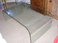Contemporary glass coffee table with curved sides £60