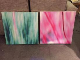 Contemporary art - painted canvas x 2