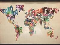 Framed typography world map