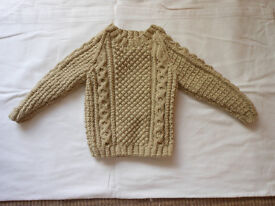 HAND KNITTED NEW BOYS ARAN JUMPER AGE 1/2 YEARS