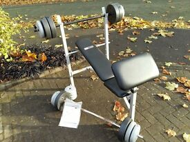 PRO FITNESS WEIGHTS BENCH WITH 50KG WEIGHTS & E - Z BAR