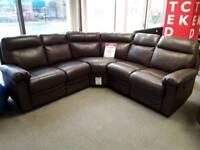 Corner leather reclining Sofa Brown