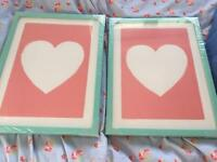 2 marks and spencer framed pictures love heart